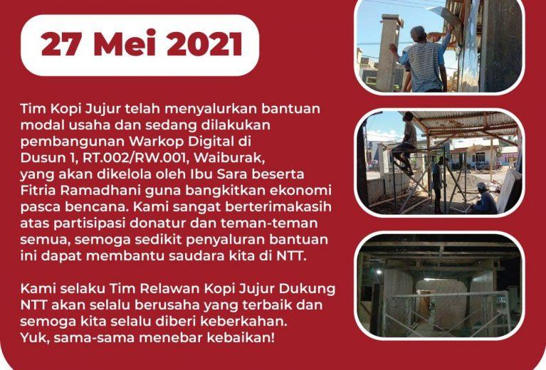 Update Donasi Kopi Jujur Dukung NTT Bersama Warkop Digital 27 Mei 2021